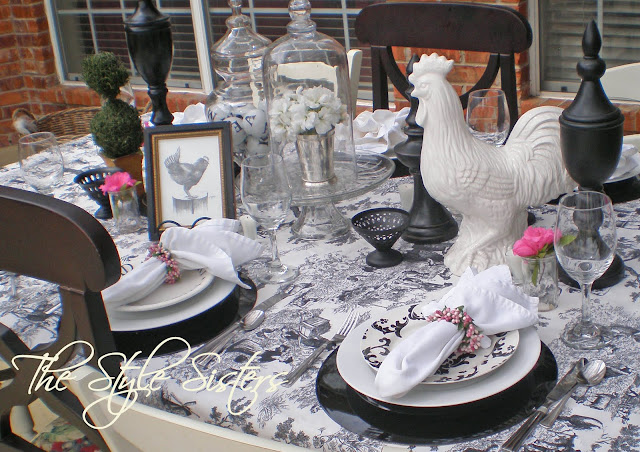 Black and White Toile tablescape, French Tablescape, Valentine Tablescape