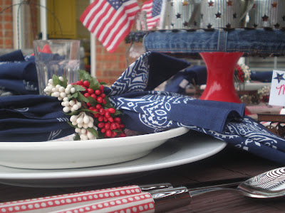 red white and blue tablescape, Bandana Napkins, Memorial Day Table decor, 4th of July table decor,  Red white and Blue