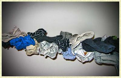 Upphängd tvätt.