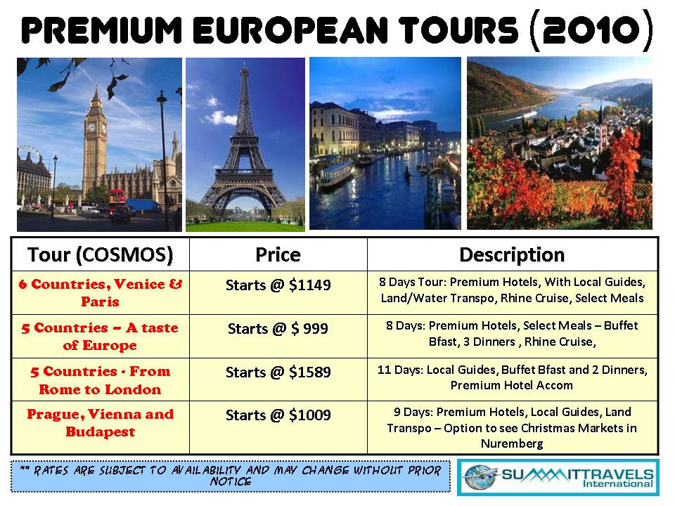 European Tours Cosmos Rates Budget Travel Promos Summit - Europe travel package