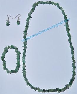 conjunto collar pulsera pendientes de piedra semipreciosa cuarzo verde
