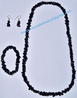 conjunto collar pulsera pendientes de piedra semipreciosa onix