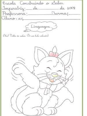 linguagem Tarefinha de linguagem para crianças