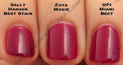 zoya moxie, opi miami beet, sally hansen, beet stain, zoya, twist, spring 2009, nail color, nail colour, nail polish, nail lacquer