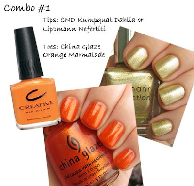 china glaze, china glaze orange marmalade, cnd kumquat dahlia, lippmann nefertiti