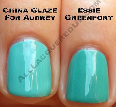 essie greenport china glaze for audrey wm Swatch Request Saturday   Summer Blues &amp; Greens