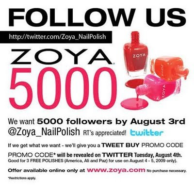 zoya twitter promotion Discounts and Freebies from Lancome & Zoya