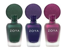 Zoya matte velvet winter trio Zoya MatteVelvet Winter Collection Swatches &amp; Review
