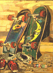Skateboards at rest
