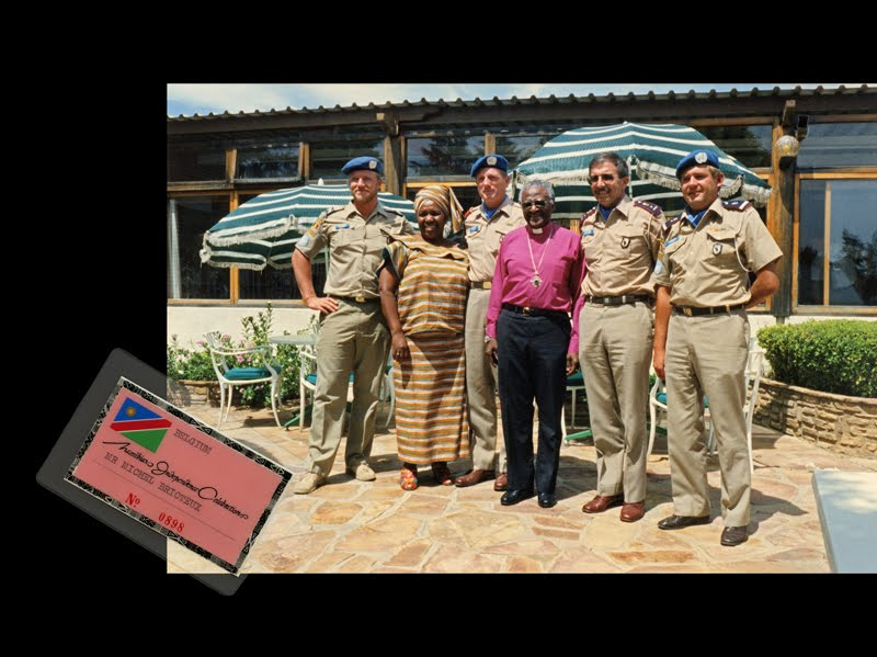 Belgian Gendarmes, members of UN Peacekeeping Force, meet with Arch. Desmond Tutu in Windhoek
