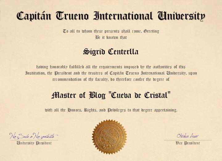 Diploma Del Blog:Desde La Cueva de Cristal