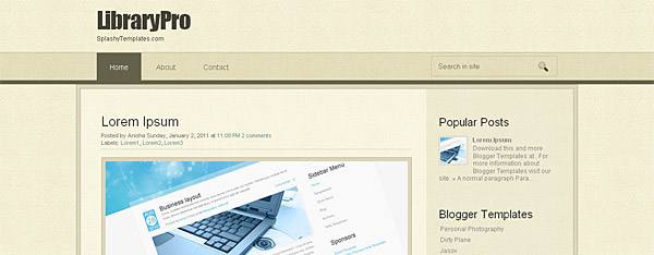 LibraryPro Free Blogger Template