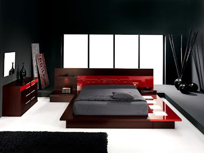 Modern Bedroom Set-Selex Blok Red Walk
