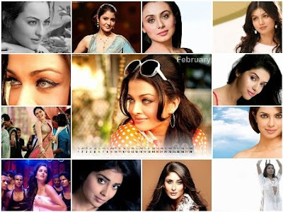 Bollywood Actress Desktop Calendar 2011