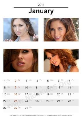 Hollywood Actress Desktop Calendar 2011