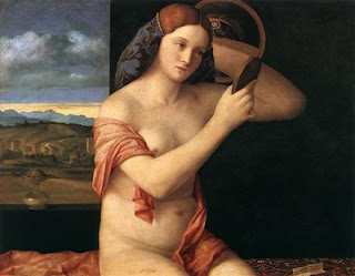 Painting by Bellini using a convex mirror