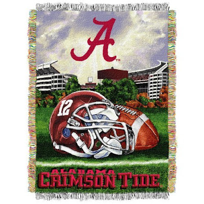 Alabama Crimson Tide football blanket.