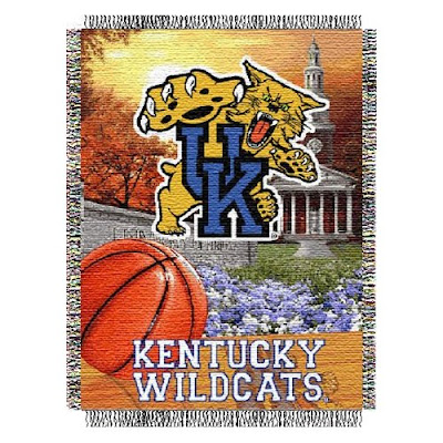 University of Kentucky Wildcats basketball throw blanket.