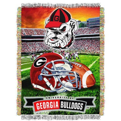 Georgia Bulldogs football stadium blanket with Uga, a football helmet, and a football.