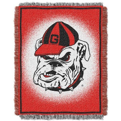 Red UGA blanket with Bulldog in the middle.