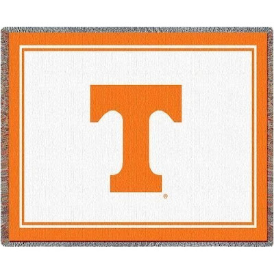 White University of Tennessee blanket with orange T logo.