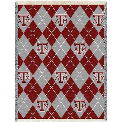 Argyle checkered plaid patterned Texas Aggies blanket that is gray and maroon.