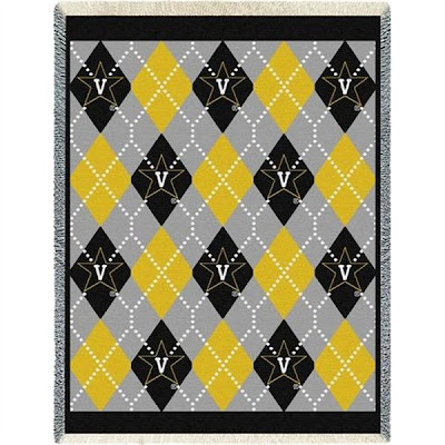 Argyle plaid black, gray, and yellow Vanderbilt (Vandy) Commodores blanket.
