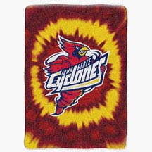 Iowa State Cyclones red and yellow tie dye blanket.
