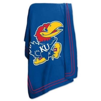 KU Jawhawks blue fleece blanket.