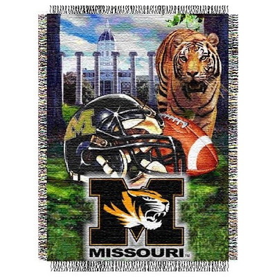 University of Missouri football throw blanket picturing the Francis Quadrangle, the columns, and Jesse Hall along with a live Tiger and a Mizzou football helmet.