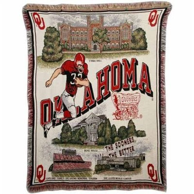 Oklahoma Sooners Football tapestry blanket with campus landmarks.