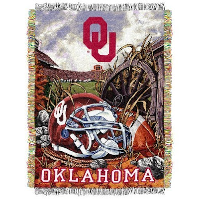 Oklahoma (OU) Sooners football throw blanket with football and football helmet.