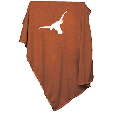 Burnt orange sweatshirt blanket with UT Longhorns white logo.