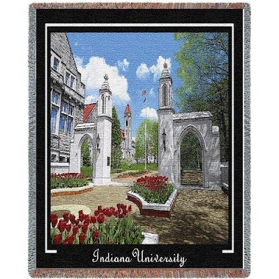 Indiana University Sample Gates picture on a throw blanket.