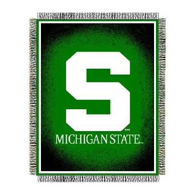 Michigan State black and green woven throw blanket with the block white S logo.