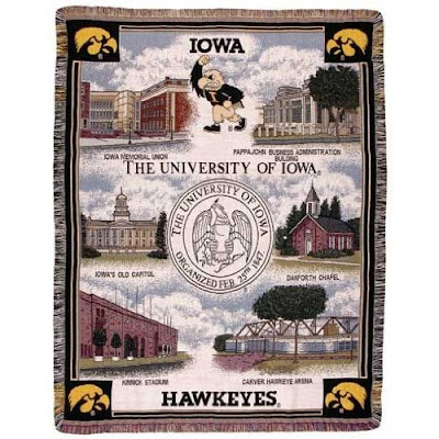 University of Iowa Hawkeyes tapestry blanket with campus landmarks.