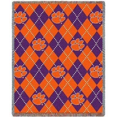 Clemson University Tigers argyle blanket that is purple and orange.
