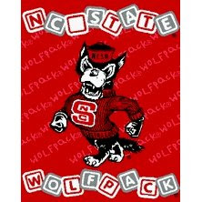 NC State baby blanket that is red with Mr. Wuff mascot.