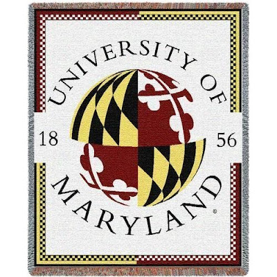 University of Maryland white blanket with Maryland state flag seal.