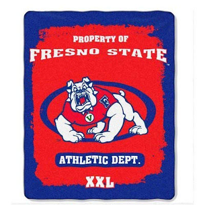 Fresno State University red and blue fleece blanket.