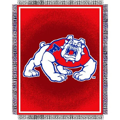 Fresno State Bulldogs red throw blanket.