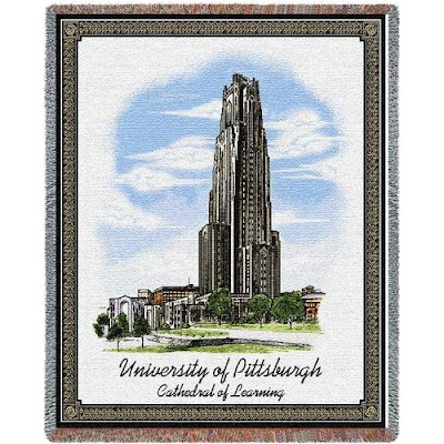 University of Pittsburgh Cathedral of Learning tapestry blanket.