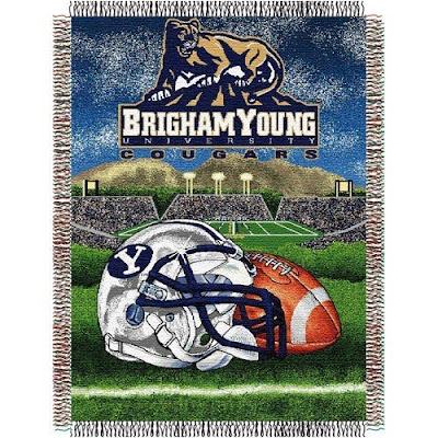 BYU football tapestry blanket.