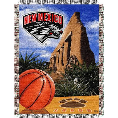 University of New Mexico basketball tapestry blanket.