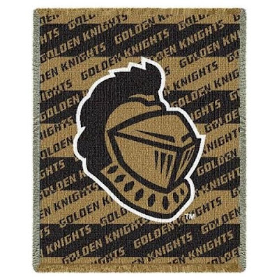 U of Central Florida Knights baby blanket that is gold and black.