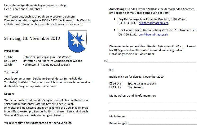 weiachblog: weiacher klassentreffen jg. 66-70: bald anmeldeschluss, Einladung