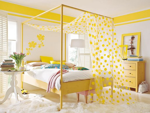 pretty things design happy yellow bedroom ~ Quarto Amarelo Jovem