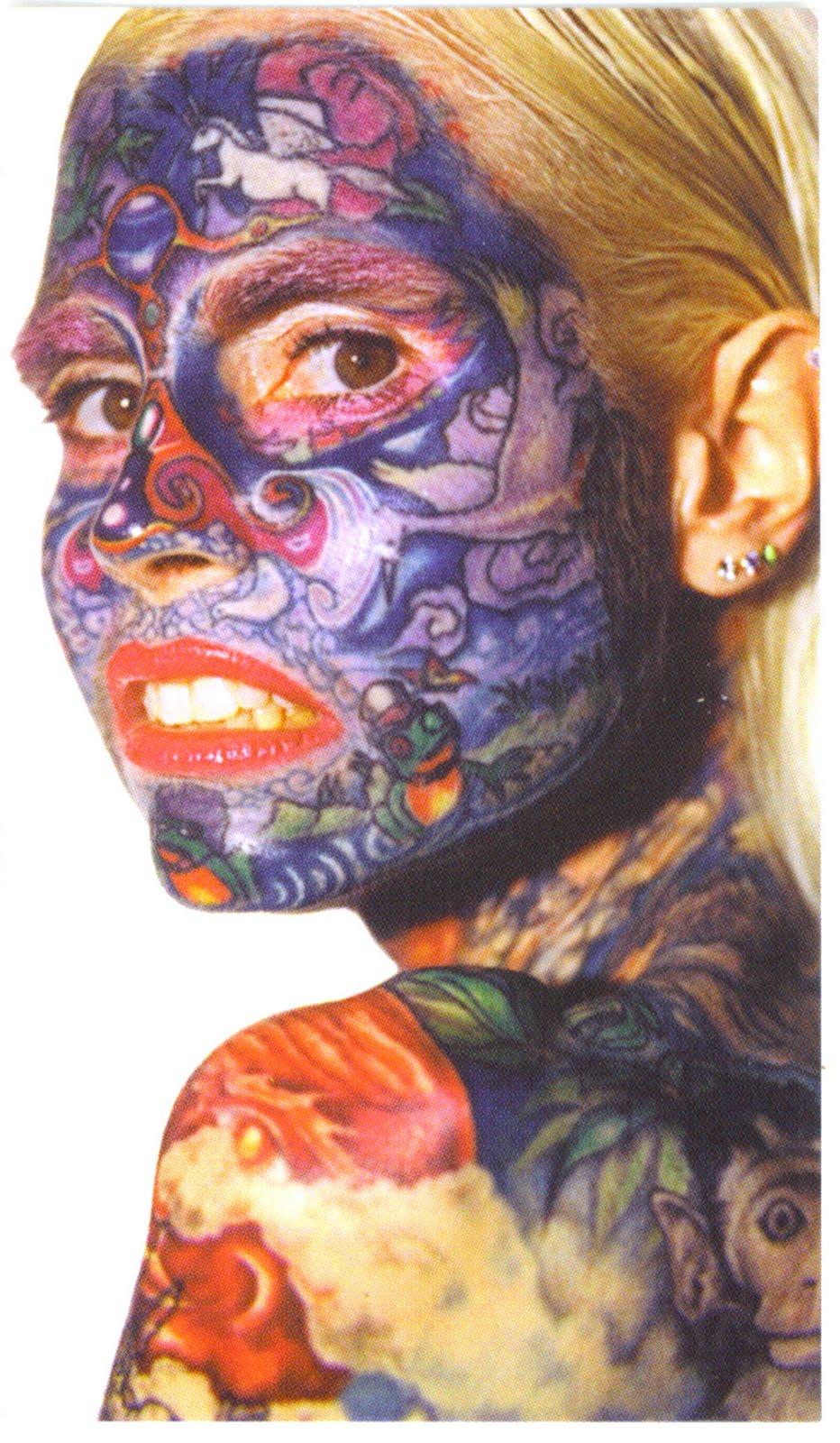Women full facial tattoo Pentagon