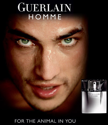 Guerlain Homme Rene Castrucci top model perfume da rosa negra