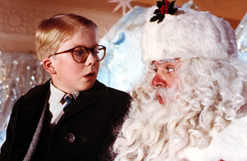 Poor Ralphie, suffering from stage fright and agreeing to receive a football, moments before he comes to his senses, crawls up the slide, is told, 'You'll shoot your eye out, kid.' and gets a boot to the face. I love that part.
